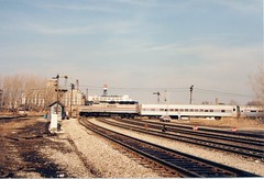 Westbound Amtrak passing over the CSX / Conrail crosstracks at Brighton Junction. Chicago Illinois. January 1988.