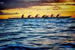 Six man canoe with Maui Sunset taken from in the water (Don Briggs) Tags: ocean sunset mauihawaii inthewater superhearts donbriggs pentaxoptowp
