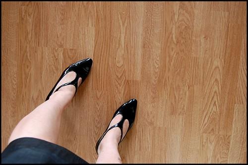 y-strap patent heels
