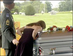 A Last Goodbye (chrmbrow) Tags: family proud soldier army memorial kiss war military iraq salute honor funeral fallen service tribute procession kia combat bronzestar widow neverforget purpleheart logansport shawnhensel
