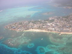 Bird's eye view of San Andres (nunca morir) Tags: trip travel blue houses sea sun water colors beautiful swimming plane buildings boats island costume high nice sand colombia surf colombian good air wave adventure journey caribbean hotels eyeview sanandres