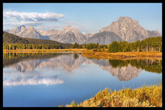 Oxbow Bend (chromaticlight) Tags: lake mountains reflection canon rebel xt wyoming hdr oxbowbend greatphotographers