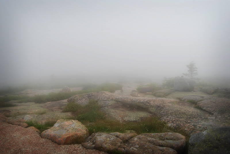 Cadillac Mountain in fog