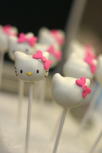 hello kitty cake pops in progress