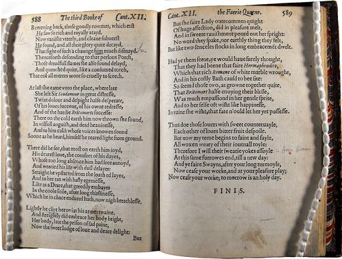 Final stanzas of Book Three, 1590 edition.