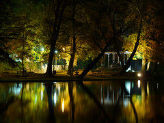 Enjoy the Silence (DomiKetu) Tags: park city longexposure trees light tree night reflections lumix photography lights europe long exposure nightlights nightshot panasonic le romania nightshots nuit parc roumanie craiova parcul romanescu rumnien rumanien oltenia dolj parculromanescu fz38 fz35 outstandingromanianphotographers dwcffnight