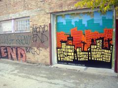 (Barrybu) Tags: street door chicago art graffiti alley garage logan