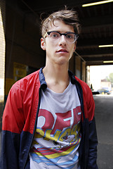 (madeinsheffield) Tags: street boy portrait cute london glasses interesting nikon stranger d200 bricklane ask briefencounter madeinsheffield sigma1850f28 howwearenow simple2007