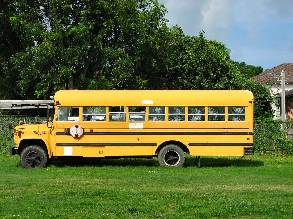 Shiloh A.M.E. Church Bus (ניקולס) Tags: school orange galveston bus broken  church glass