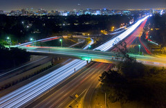 the 405 at Sunset Blvd (gsgeorge) Tags: california longexposure belair skyline night losangeles highway freeway infrastructure interstate i405 westwood centurycity sunsetblvd sunsetboulevard lighttrail the405 sandiegofreeway interstate405 newtopography newtopographics southerncaliforniafreeways newtopographic