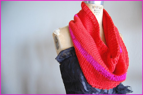 tomato red and fuchsia/sequin striped cowl