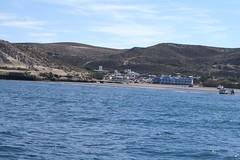 the village of puerto pirámides as seen from the water