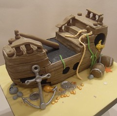 Sunken Pirate Ship Cake (purecakes (lizzie)) Tags: birthday sea party cake kids boat sand ship shaped pirate anchor wreck