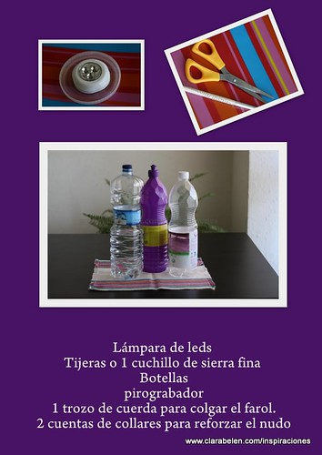 Materiales para hacer un farol con botellas