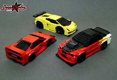 The Stubbies (F40, M3, GALLARDO) (ZetoVince) Tags: red car yellow greek lego vince ferrari bmw vehicle m3 lamborghini stubby gallardo f40 blackrims stubbies zeto 10wide pullbackmotor zetovince dreamdealer