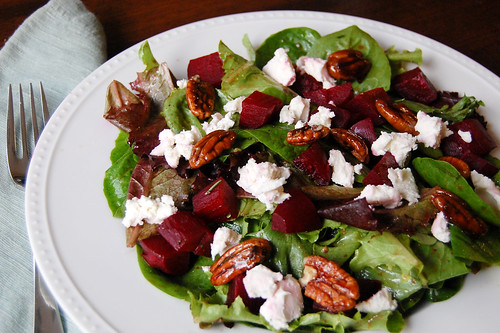 Pink Parsley: Roasted Beet Salad with Goat Cheese & Spicy Maple Pecans