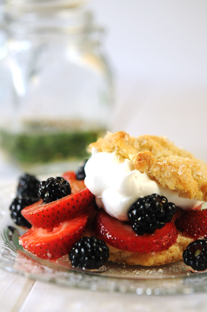 shortcake with basil cinnamon syrup--shortcake with strawberries and blackberries