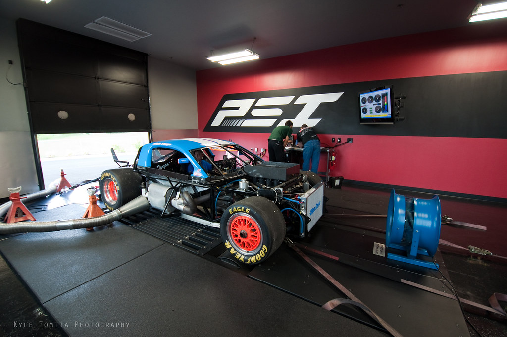 Roush Yates powered race car on dyno at PSI