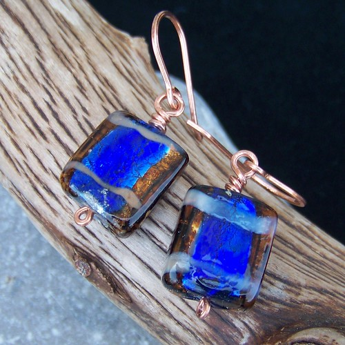 Dichroic glass and copper earrings
