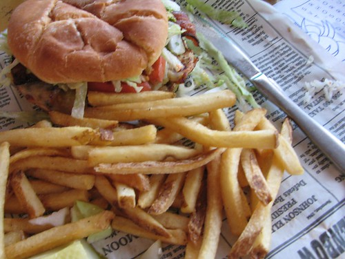 Cajun Chicken Sandwich with fries