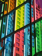 the world through colored glass (photo.monkey) Tags: street city urban canada building colors quebec montreal couleurs rue coolest ville urbain blueribbonwinner 50club abigfave impressedbeauty diamondclassphotographer colourartaward