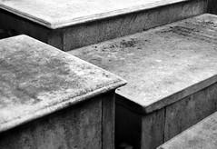 Staggered (Old Saint Peter's Cemetery) (James Mundie) Tags: blackandwhite bw cemeteries black blancoynegro monochrome cemetery grave graveyard death memorial noir pennsylvania headstone