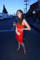 red dress (Orrin) Tags: red woman losangeles lenstagged dress wideangle fair silverlake sunsetjunction 1022mm streetfair reddress sunsetblvd 2007 canonefs1022mmf3545usm sunsetbl
