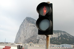 Pedestrian stop lights on Gibralter runway
