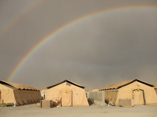 A double rainbow captured over the tents at Kandahar Air Field, Afghanistan. Taken by The U.S. Army || Used by Creative Commons Attribution Copyright