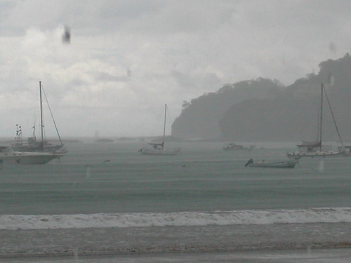 June 4 2010 San Juan del Sur, boats during rainstorm