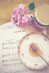 cook with honey (bootsieking) Tags: china vintage honey hydrangea sheetmusic honeydipper