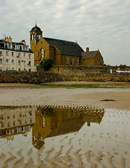 Church reflection (Grey Hamster) Tags: uk sea reflection beach church landscape island scotland britain sony 350 burnt dslr portriat a350