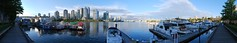 165/365 - Granville Island (水 Stormchild) Tags: trees sky panorama canada reflection water skyline vancouver clouds buildings boats harbor bc waterfront yaletown falsecreek boardwalk daytime 365 granvilleisland aquabus 水 cylindrical hugin project365