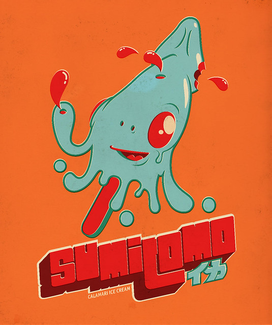 Sumitomo Calamari Ice Cream (Fake  Vintage Japanese Ad Characters)