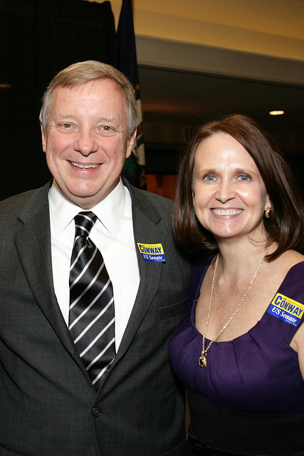Senator Dick Durbin and a Supporter