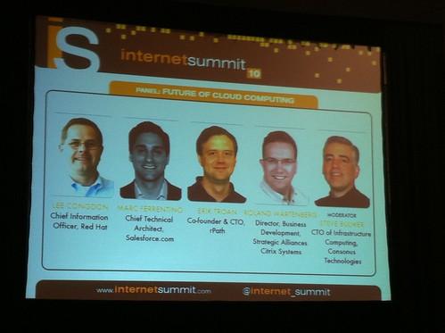 Future of Cloud panelists bumper slide at #isum10