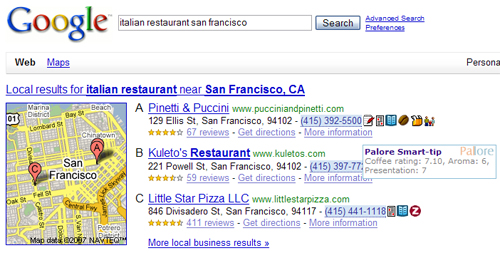 Palore icons in Google Local search results