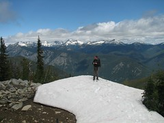 wildernessed on summit of Klone Peak with Chelan Mountains / Emerald Peaks in the background.