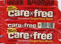 Cinnamon Care*free gum wrapper