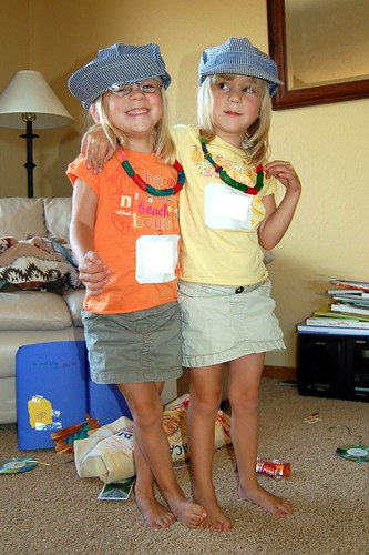 Linds & Syd modeling their hats from VBS!