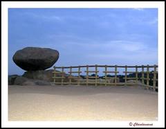 Firm n Solid ($udhakar) Tags: park sunset lake tourism rock canon fence landscape evening wooden pond sand dusk a520 sightseeing grain r hyderabad fillflash hitec mustsee cyberabad canona520 durgamcheruvu chandamama durgampond