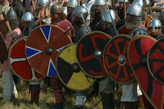 ancient_7469 (Erkola.) Tags: festival fight ancient folk helmet attack battle formation tournament knight shield middleages