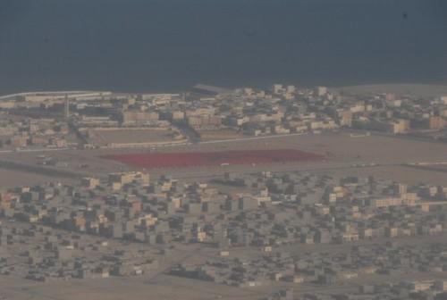 Le plus grand drapeau au Monde vue du hublot de notre avion.