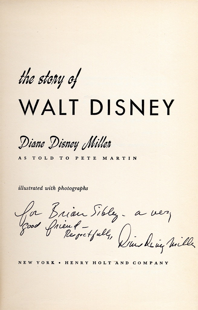Disney Biography (US edition), autographed by Disney Disney Miller