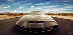 Knight Rider  K.I.T.T. (t0m_ka) Tags: light two sky panorama copyright usa david car television clouds canon nbc 1 licht michael us tv am highway desert action thomas himmel wolken wideangle manipulation scene explore 80s marx davidhasselhoff knight 5d series knightrider kit universal trans hasselhoff retouch rider frontpage serie fkk thousand 1740 transa