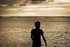 海をみる少年の背中