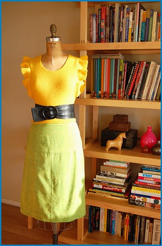 thrifted yellow vest, belt and skirt