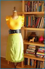 thrifted yellow vest, belt and skirt - by bitsandbobbins