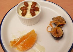 Honey mousse with candied almonds, Grand Marnier roasted figs with candied orange peel, and oranges with orange syrup (HarlanH) Tags: food orange dinner recipe dessert spanish honey almonds figs mousse candied cookingclub