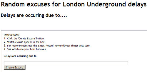 Tube Delay Excuse Generator - opens in new window